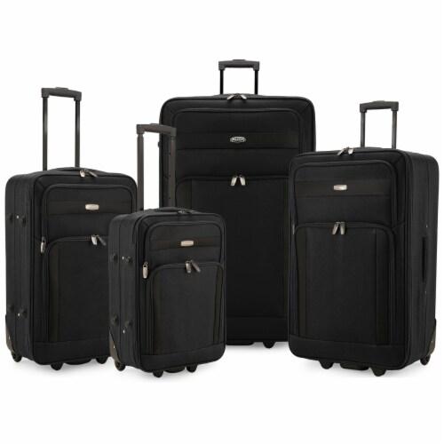 Traveler's Choice Elite Luggage Softside Lightweight Rolling Luggage Set - Black Perspective: front