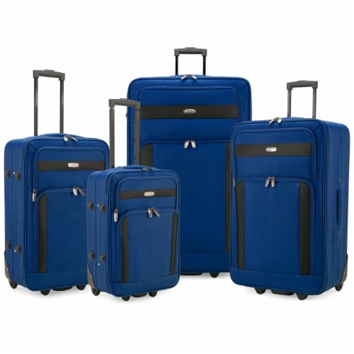 Traveler's Choice Elite Luggage Softside Lightweight Rolling Luggage Set - Blue Perspective: front