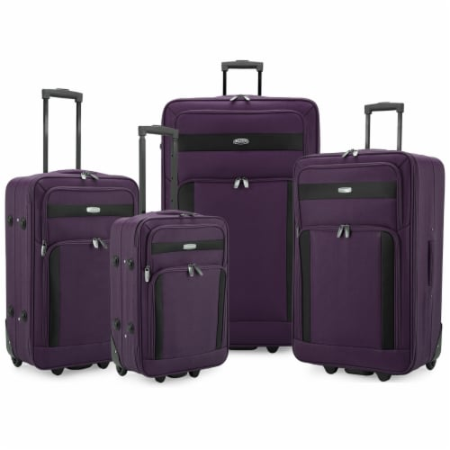 Traveler's Choice Elite Luggage Softside Lightweight Rolling Luggage Set - Purple Perspective: front