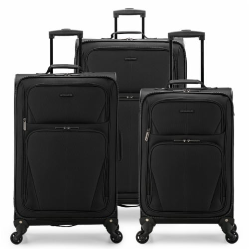 U.S. Traveler Esther 3-Piece Expandable Spinner Luggage Set - Black Perspective: front