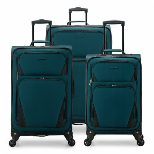 U.S. Traveler Esther 3-Piece Expandable Spinner Luggage Set - Teal Perspective: front