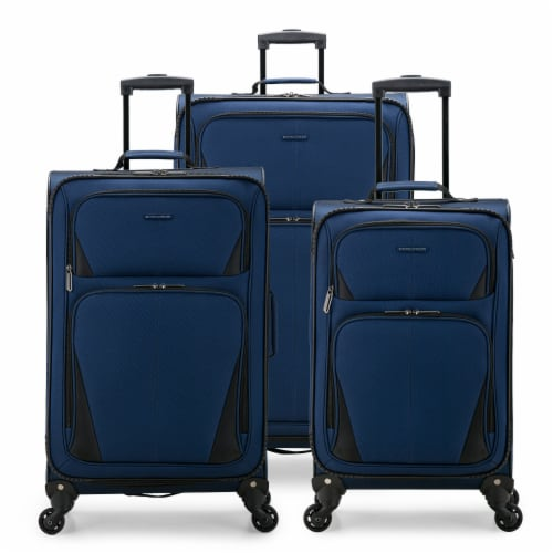 U.S. Traveler Esther 3-Piece Expandable Spinner Luggage Set - Navy Perspective: front