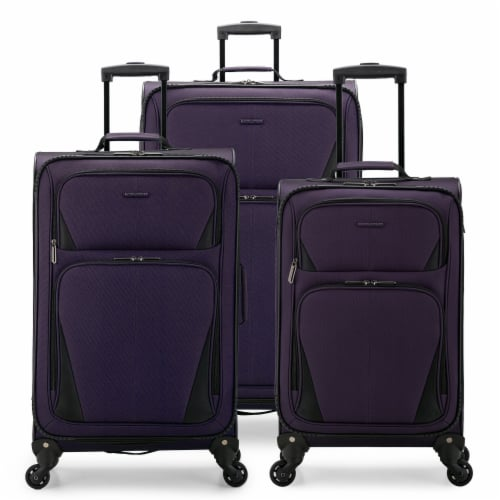 U.S. Traveler Esther 3-Piece Expandable Spinner Luggage Set - Purple Perspective: front