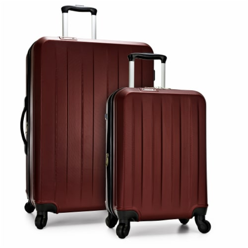 Traveler's Choice Elite Luggage Havana Spinner Luggage Set with USB Port - Burgundy Perspective: front