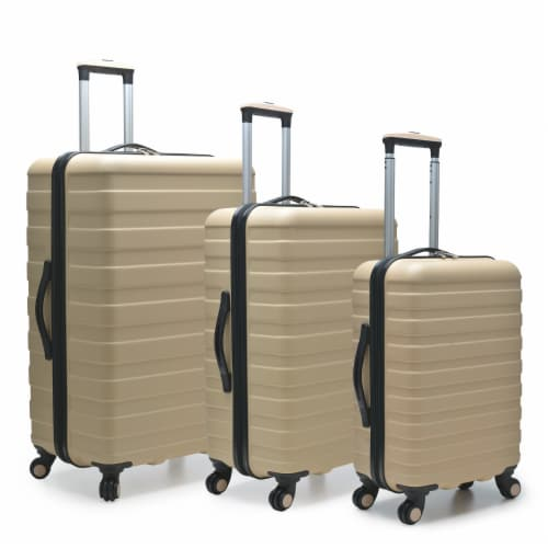 U.S. Traveler Cypress Colorful 3-Piece Spinner Luggage Set - Sand Perspective: front