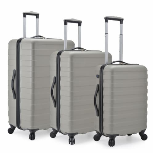 U.S. Traveler Bondi 3-Piece Spinner Luggage with Smart USB Port - Gray Perspective: front