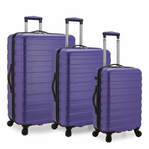 U.S. Traveler Bondi 3-Piece Spinner Luggage with Smart USB Port - Violet Perspective: front