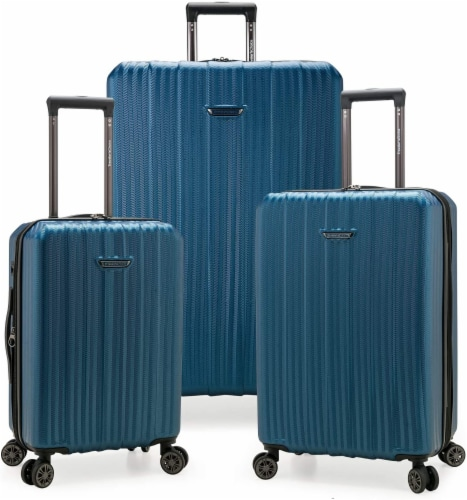 Traveler's Choice Dana Expandable Hard-Shell Luggage Set - Navy Perspective: front