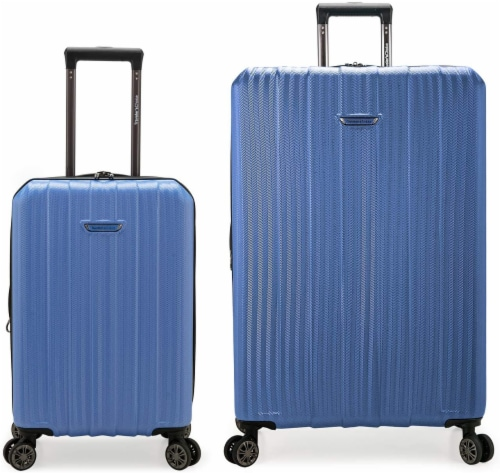 Traveler's Choice Dana Point Expandable Hard-Shell Luggage Set with USB Port - Blue Perspective: front