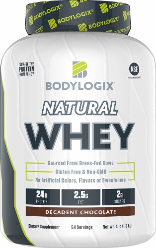 Bodylogix Natural Whey Protein Decadent Chocolate Dietary Supplement Powder Perspective: front