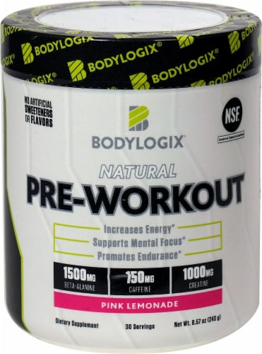 Bodylogix Natural Pink Lemonade Pre-Workout Powder Perspective: front