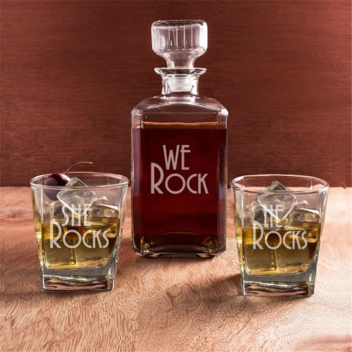 Cathys Concepts RS1193 We Rock Decanter & Glass Set - Set of 3 Perspective: front