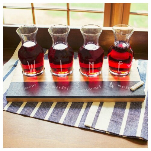 Cathys Concepts Bamboo & Slate Wine Tasting Flight Perspective: front