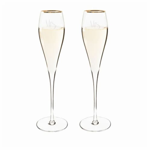 Cathys Concepts Mrs. & Mrs. Gatsby 7 oz. Gold Rim Champagne Flutes Set of 2 Perspective: front