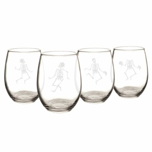 Cathys Concepts Dancing Skeletons 21 oz. Stemless Wine Glasses Set of 4 Perspective: front