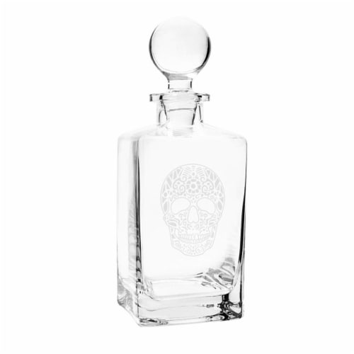 Cathys Concepts Sugar Skull 32 oz. Square Whiskey Decanter Perspective: front