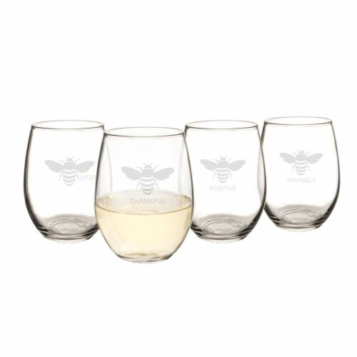 Cathys Concepts Bee Thankful 21 oz. Stemless Wine Glasses Perspective: front