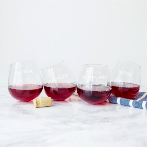 Cathys Concepts 12 oz Valentine Tipsy Wine Glasses - Set of 4 Perspective: front
