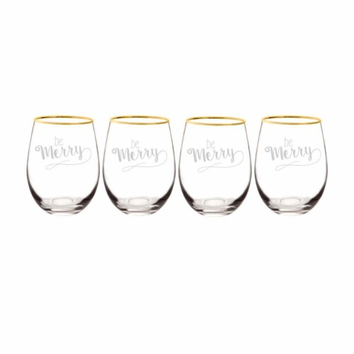 Cathys Concepts Be Merry 19.25 oz. Gold Rim Stemless Wine Glasses Set of 4 Perspective: front