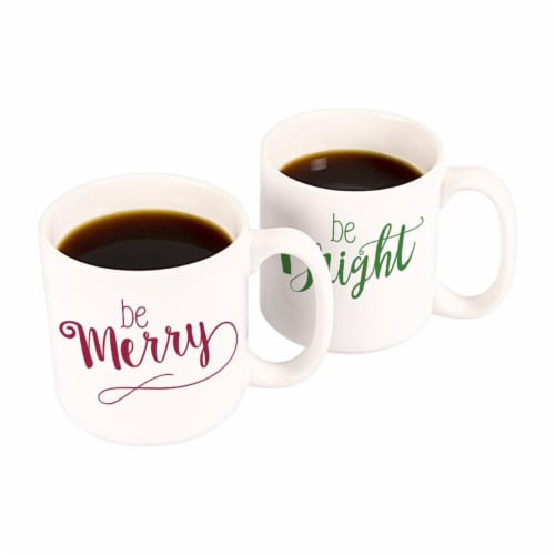 Cathys Concepts H16-3900 Merry & Bright 20 oz. Large Coffee Mugs Set of 2 Perspective: front