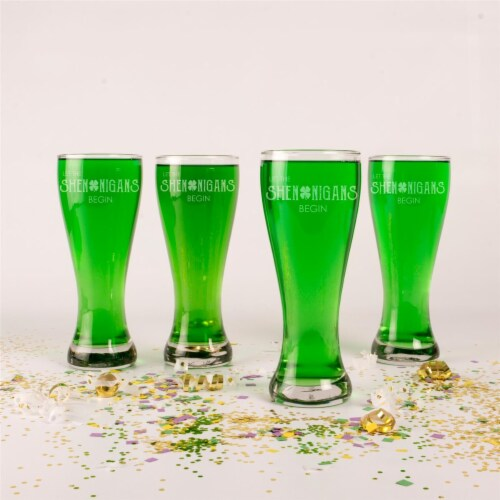 Cathys Concepts PAT17-1122 20 oz St. Patricks Day Shenanigans Pilsner Glass - Set of 4 Perspective: front
