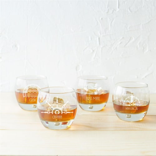 Cathys Concepts 10.75 oz Nautical Heavy Based Whiskey Glasses Perspective: front