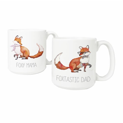 Cathys Concepts MF-3900FOX 20 oz Foxtastic Dad & Foxy Mama Coffee Mugs, Large - Set of 2 Perspective: front