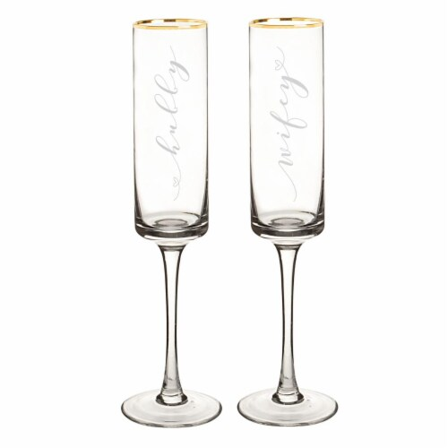Cathys Concepts 8 oz Hubby & Wifey Gold Rim Contemporary Champagne Flutes - 2 Set Perspective: front