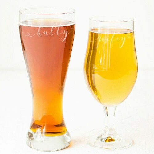 Cathys Concepts WH2223 Hubby & Wifey Pilsner Set Perspective: front