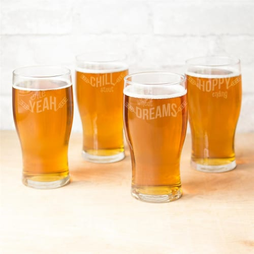 Cathys Concepts BP4115-4 19 oz Beer Pun Pilsner Glasses - 4 Set Perspective: front