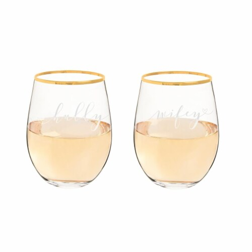Cathys Concepts 19.25 oz Hubby & Wifey Gold Rim Stemless Wine Glasses Set of 2 Perspective: front