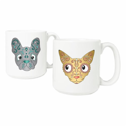 Cathys Concepts HW-3900CD-ST 20 oz. Sugar Skull Pet Coffee Mugs Set of 2 Perspective: front