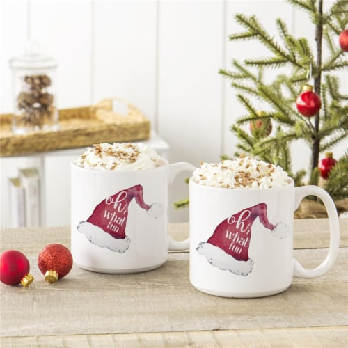 Cathys Concepts H17-3900-ST 20 oz Oh What Fun Santa Hat Coffee Mugs, Large - Set of 2 Perspective: front