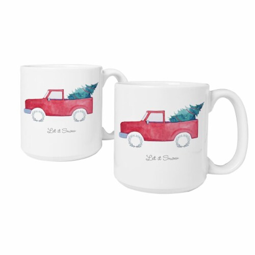 Cathys Concepts H17-3900TKST 20 oz Christmas Tree Truck Large Coffee Mugs - Set of 2 Perspective: front