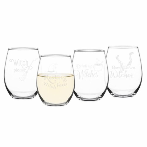 Cathys Concepts 21 oz Halloween Witches Stemless Wine Glasses - Set of 4 Perspective: front