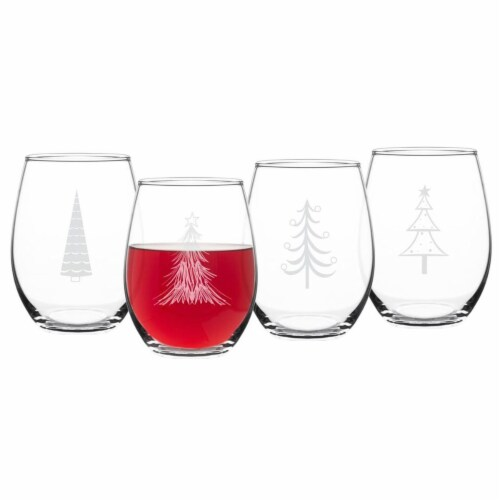 Cathys Concepts 11.75 in. Holiday Trees Stemless Wine Glasses Set of 4 Perspective: front
