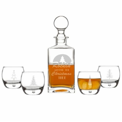 Cathys Concepts 3.5 in Rockin Around Holiday Decanter Set Perspective: front