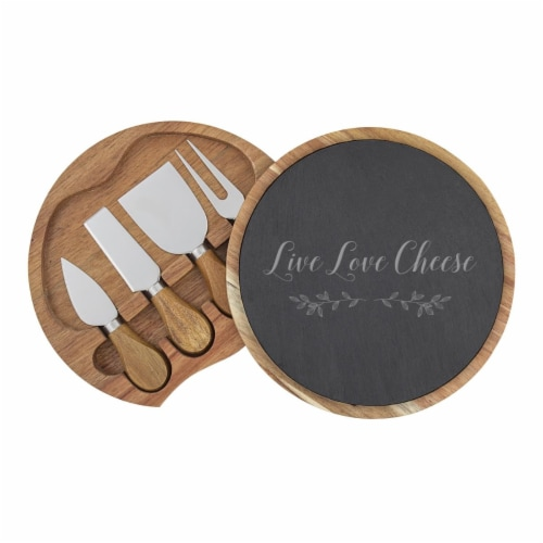 Cathys Concepts 5 Piece Live Love Cheese Slate & Acacia Cheese Board Set with Utensils Perspective: front