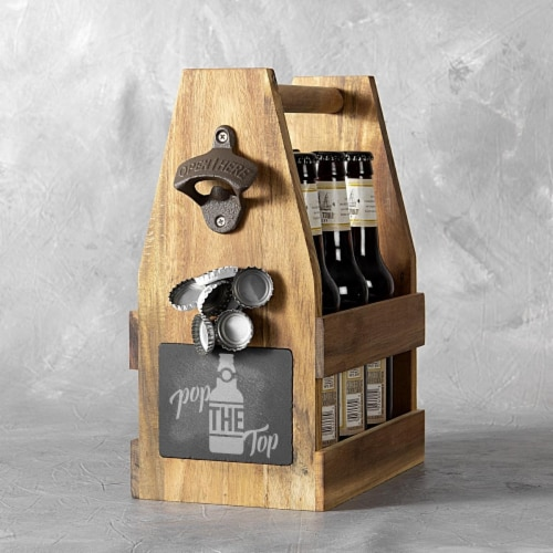 Cathys Concepts 2397-ST Pop the Top Acacia Wood & Slate Beer Carrier with Bottle Opener & Mag Perspective: front