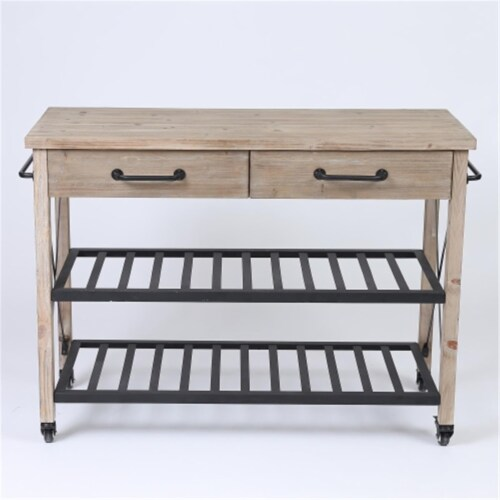 Luxen Home WH194 Two Drawer Kitchen Cart Perspective: front