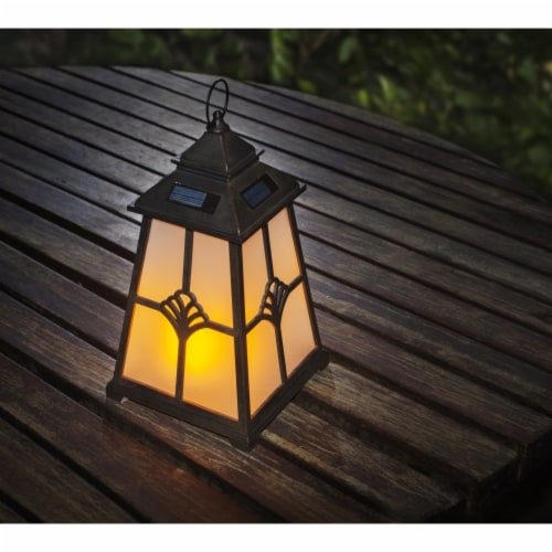 Winsome House Flaming Lights Lighthouse LED Lantern, Black & Brown Perspective: front