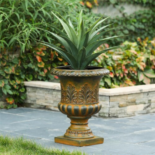 Luxen Home Classic Rustic Urn Planter  Bronze Perspective: front