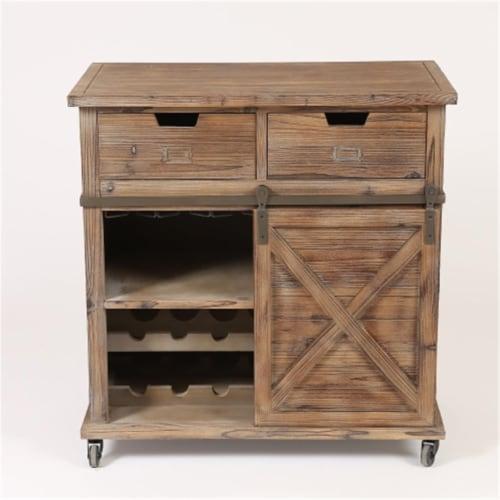 Luxen Home WH181 Rustic Wood Sliding Barn Door Wine Cabinet Perspective: front
