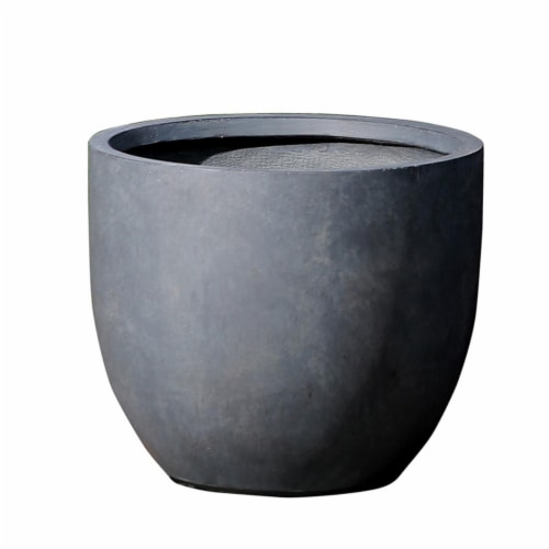 Luxen Home Stone Round Planter - Large Perspective: front