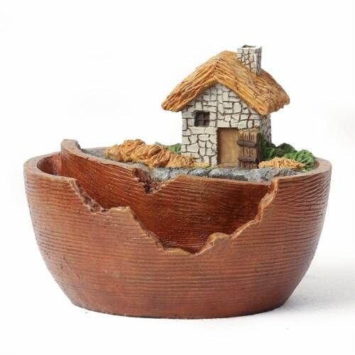 Luxen Home Miniature Fairy Garden Cottage Planter Perspective: front
