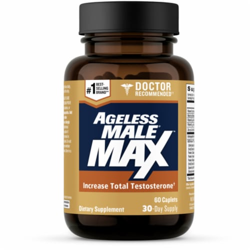 Ageless Male Max Dietary Supplement Caplets Perspective: front