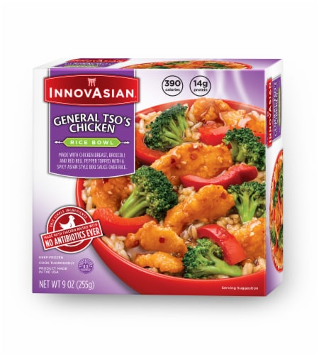 InnovAsian Cuisine General Tso's Chicken Rice Bowl Perspective: front