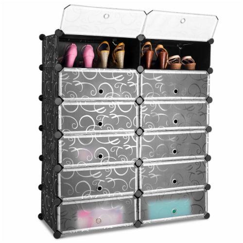 Costway 12 Cubic Portable Shoe Rack Shelf Cabinet Storage Closet Organizer Home Furni Perspective: front