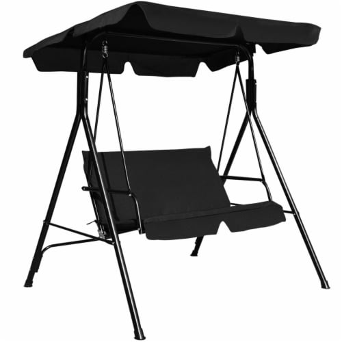 Costway Loveseat Patio Canopy Swing Glider Hammock Cushioned Steel Frame Outdoor Black Perspective: front