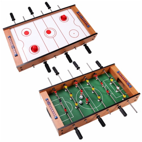 Costway 2 In 1 Table Game Air Hockey Foosball Table Christmas Gift For Kids In/Outdoor Perspective: front